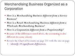 Chart Of Accounts For A Merchandising Business Vs Service Business Chapter 9