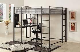 Metal Loft Bed with Desk Underneath