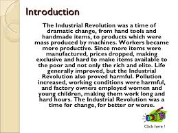 introduction of the industrial revolution essay introduction to the industrial revolution connect bcp org