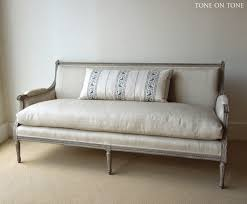 indian antique french cushions. Antique Sofa Recovered In Linen With Down Filled Cushion Indian French Cushions