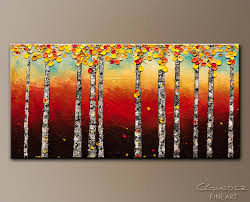 autumn birch trees abstract art painting image by carmen guedez