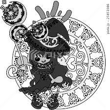 お洒落で可愛い魔法使いの女の子のイラストのイラスト素材 25851086