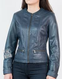 womens collarless leather jacket in blue kilder
