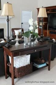 Wonderful Decorate Sofa Table Behind Couch Decor Setting For Four In Concept Ideas