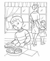 Small Picture Thanksgiving Dinner Coloring Page Sheets Boy sneaking some pie