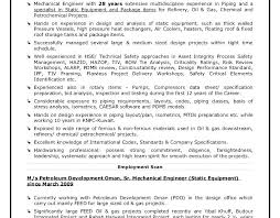 Resume Mechanical Engineer Sample Piping Engineer Sample Resume Job