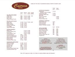 Menu And Price List Cuerva Bakeshop