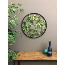 metal circle 3 dimensional palm leaves tropical wall d cor on metal wall art decor tropical with tropical metal wall art you ll love wayfair