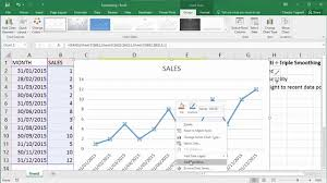 linear forecast ets functions in excel 2016