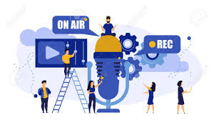 Radio Music TV On Air Live Rec Interview People Vector Illustration. Hot  News With Mic Broadcast Sound Communication Studio. Male Listen Media  Headphone. Concept Record Online Microphone Business Royalty Free Cliparts,  Vectors,