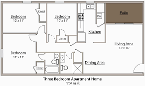 small 3 bedroom apartment floor plans