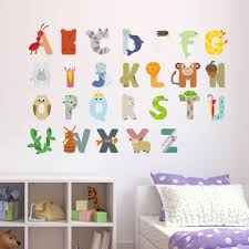 Diy Cartoon Abc Brief Muursticker Pvc Leuke Dier Kinderkamer Muur