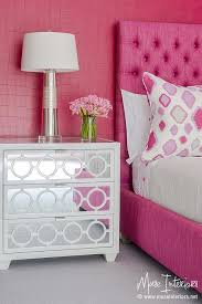 Hot Pink Girl Bedroom with White Mirrored Nightstands