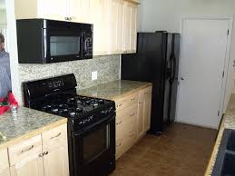 Kitchen:Kitchen Color Schemes With Black Appliances And Dark Brown Cabinet  Narrow Kitchens With Black