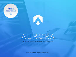 Powerpoint Themes Free Download Free Powerpoint Template Aurora Blue By Hislide Io Dribbble