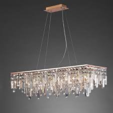 maddison crystal 6 light ceiling bar pendant in rose gold finish il31715