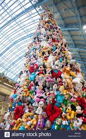 November 2015 - Christmas tree made of stuffed toys by Disney, London, UK