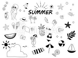 手書きの夏のイラストセット2イラスト No 1479267無料イラストなら