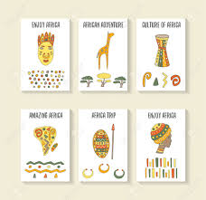 Cute Hand Drawn Doodle Africa Theme Cards Postcards Covers