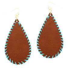 ce1718 lp whip stitched handmade teardrop leather earring