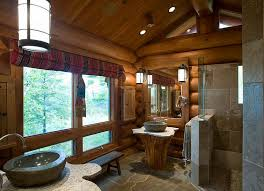 rustic stone bathroom designs. bathrooms:wooden rustic bathroom with unique sink and wooden seat also log wall stone designs