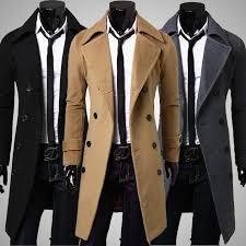 fashion men coat quality wool blends thin long overcoat male spring fall winter warm woolen coat