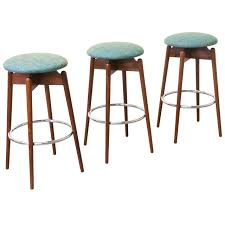Backless Mid Century Modern Bar Stool With Colorful Upholstered Seat