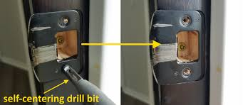 the nice thing about this type of drill bit is that the holes get placed exactly in the middle of the strike plate holes makign it so the strike