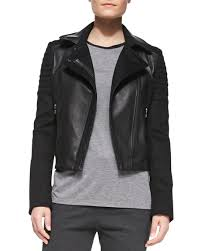 Vince Quilted Knit/Leather Moto Jacket &  Adamdwight.com