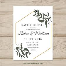 Wedding Card With Modern Leaves Vector Free Download