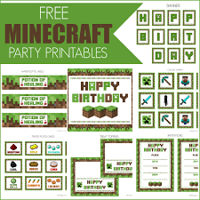 Free Printable Minecraft Birthday Party Invitations