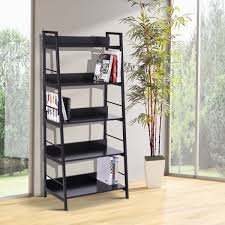 homcom wood bookcase 5 tier wide bookshelf shelving storage furniture home black aosom ca