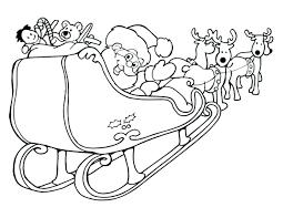 Kleurplaat Kerstman Slee Rendier