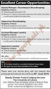 Deputy Manager Supervisors Housekeeping Assistant Manager