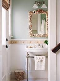 bathroom mirror with shells