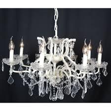 cream 8 branch shallow cut glass chandelier