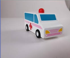 pull back motor ambulance wooden children toys gifts 1