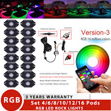 Us 131 98 4 6 8 10 12 16 Pods Rgb Led Mini Rock Light Bluetooth Wireless Color Changing Under Body Offroad Atv Truck Boat Deck Marine Lamp In Light