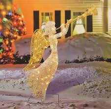 marvellous design outdoor angel lighted decorations trumpet lights