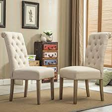 Image Plastic Amazoncom Roundhill Furniture Habit Solid Wood Tufted Parsons Dining Chair set Of 2 Tan