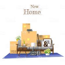 Bewegende Huis Concept Achtergrond Met Kartonnen Dozen En Meubels In
