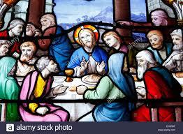 Saint Aignan Chiesa. L Ultima Cena di Gesù con i dodici apostoli Foto stock  - Alamy