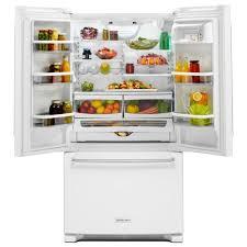 Kitchen Aid French Door Kitchenaid 36 In W 20 Cu Ft French Door Refrigerator In White