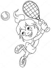 Outlined Tennis Girl Stock Vector Yayayoyo 115814106