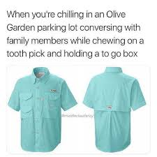 when youre chilling in an olive garden parking lot conversing with family members while chewing on