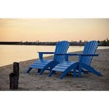 Polywood south beach pacific blue plastic patio adirondack chair 2 pack