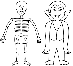 Small Picture Skeleton With A Vampire Coloring Page Halloween Coloring Home