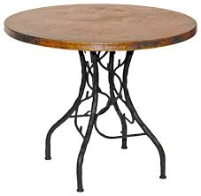 south fork bistro table with 36 round copper top traditional side tables and end tables by timeless wrought iron