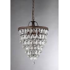 warehouse of tiffany martinee crystal inverted pyramid 4 light antique bronze chandelier with shade