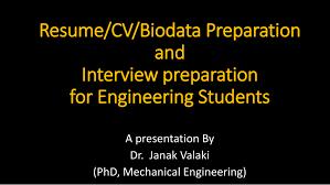 Pdf Resume Cv Biodata Preparation And Interview Preparation
